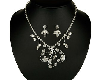 Wedding Jewelry Set - Necklace and Earrings Set - Eve Necklace and Earrings with Rhinestones - Bridal Accessories