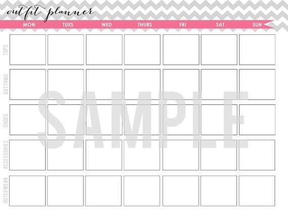 Items Similar To Chevron Series Outfit Planner Printable On Etsy