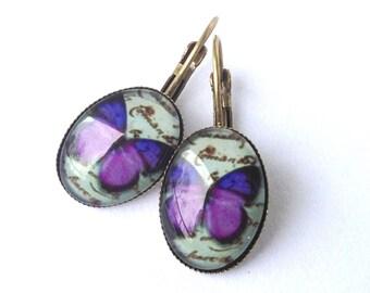 Butterfly -  purple vintage earrings
