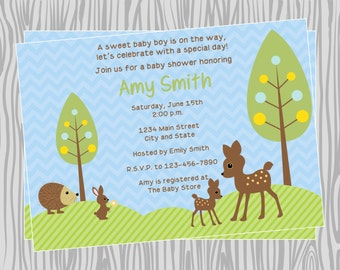 DIY - Forest Friends Baby Shower or Birthday Party Invitation - Coordinating Items Available