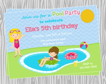 DIY - Girl Pool Birthday Party Invitation 1- Coordinating Items Available