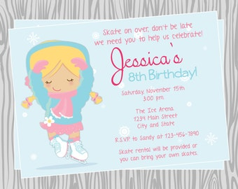 DIY - Girl Ice Skating Birthday Party Invitation 2 - Coordinating Items Available