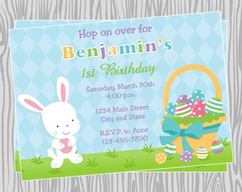 DIY - Easter Bunny and Basket  Birthday Invitation - Coordinating Items Available
