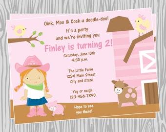 DIY - Girl Farm/Barn Animals Birthday Party Invitation - Coordinating Items Available