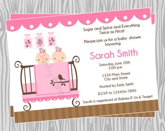 DIY - Twin Girls Baby Shower Invitation - Coordinating Items Available