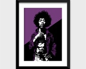 Jimi Hendrix Art Print - Multiple Sizes Available - Rock God - Great for Fans of Rock and Roll and Amazing Guitarists