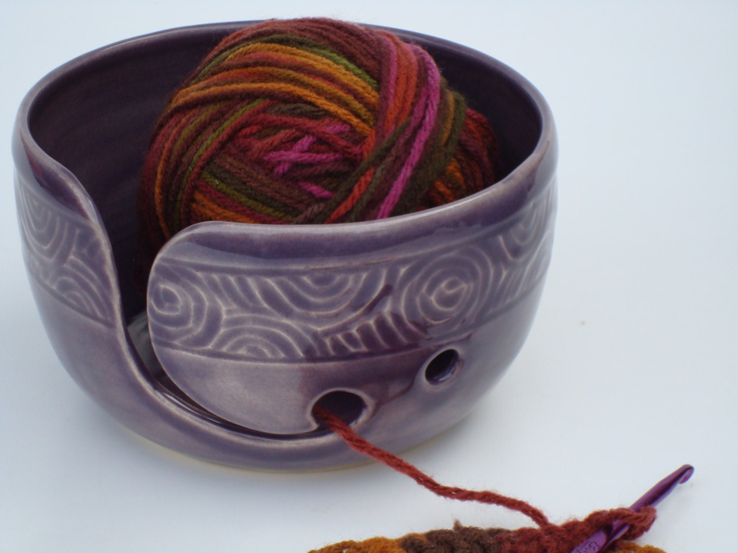 Pottery Yarn Bowl with hand carved design Purple Grape
