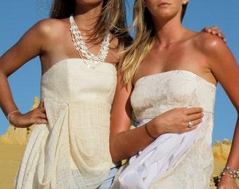 Machere Couture - Strapless organic silk shawl bustier top