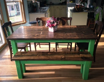 5ft industrial style farmhouse table farmhouse dining table for Solid wood farmhouse table