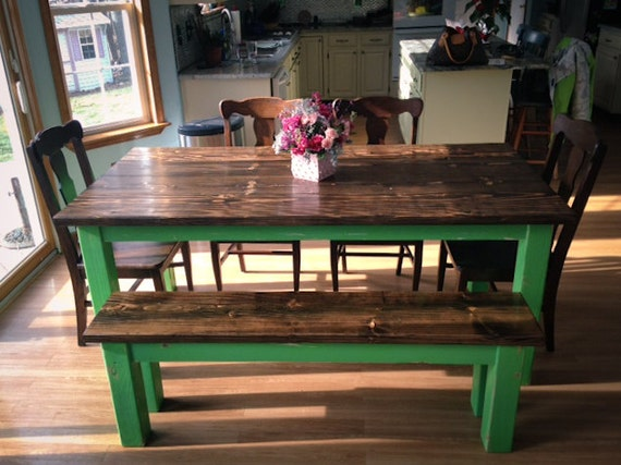 items similar to solid wood farmhouse table 6ft on etsy. Black Bedroom Furniture Sets. Home Design Ideas