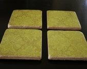 "Set of 4 Travertine Tile Coasters - 3"" x 3"" - Cork Bottom - Green"