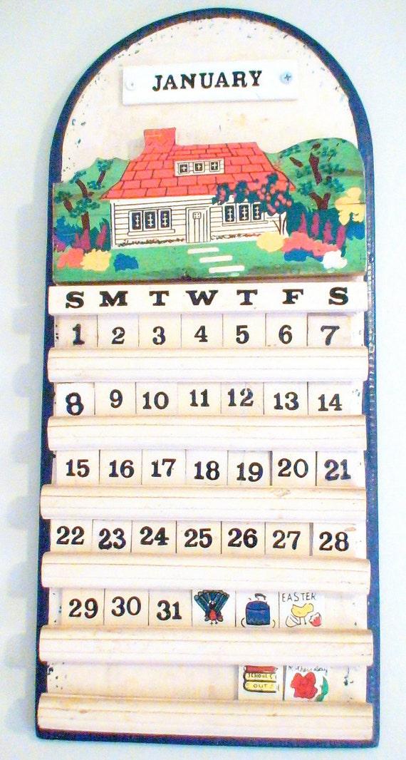 Retro Wall Calendar With Wooden Tiles
