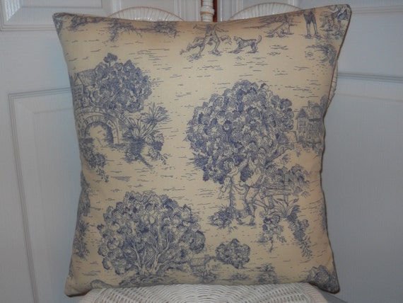blue french toile pillow decorative pillow by thefrenchpillow. Black Bedroom Furniture Sets. Home Design Ideas