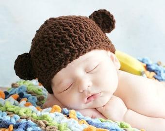 Crochet BROWN  MONKEY Hat, Boy or Girl,1-2 lb micro preemie, 2-3 lb micro preemie, preemie, newborn,0-3 month, 3-6 month, 6-12 month,,1-3 yr