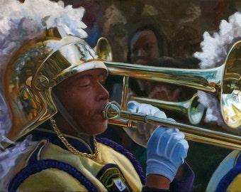 Mardi Gras Marching Trombone painting