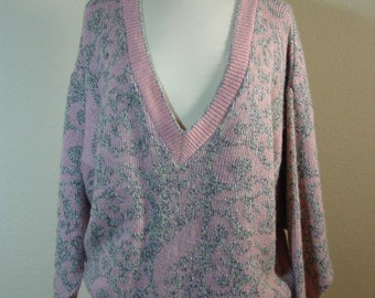 80s Pink & Silver/Grey Over-sized Deep V-Neck Sweater Steampunk/Retro