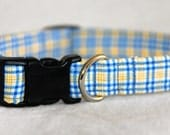 SALE 20% OFF! Blue and Yellow Plaid dog collar