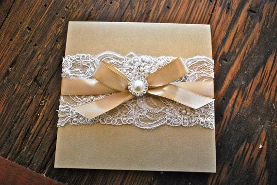 items similar to champagne & ivory lace wedding invitation on etsy, Wedding invitations