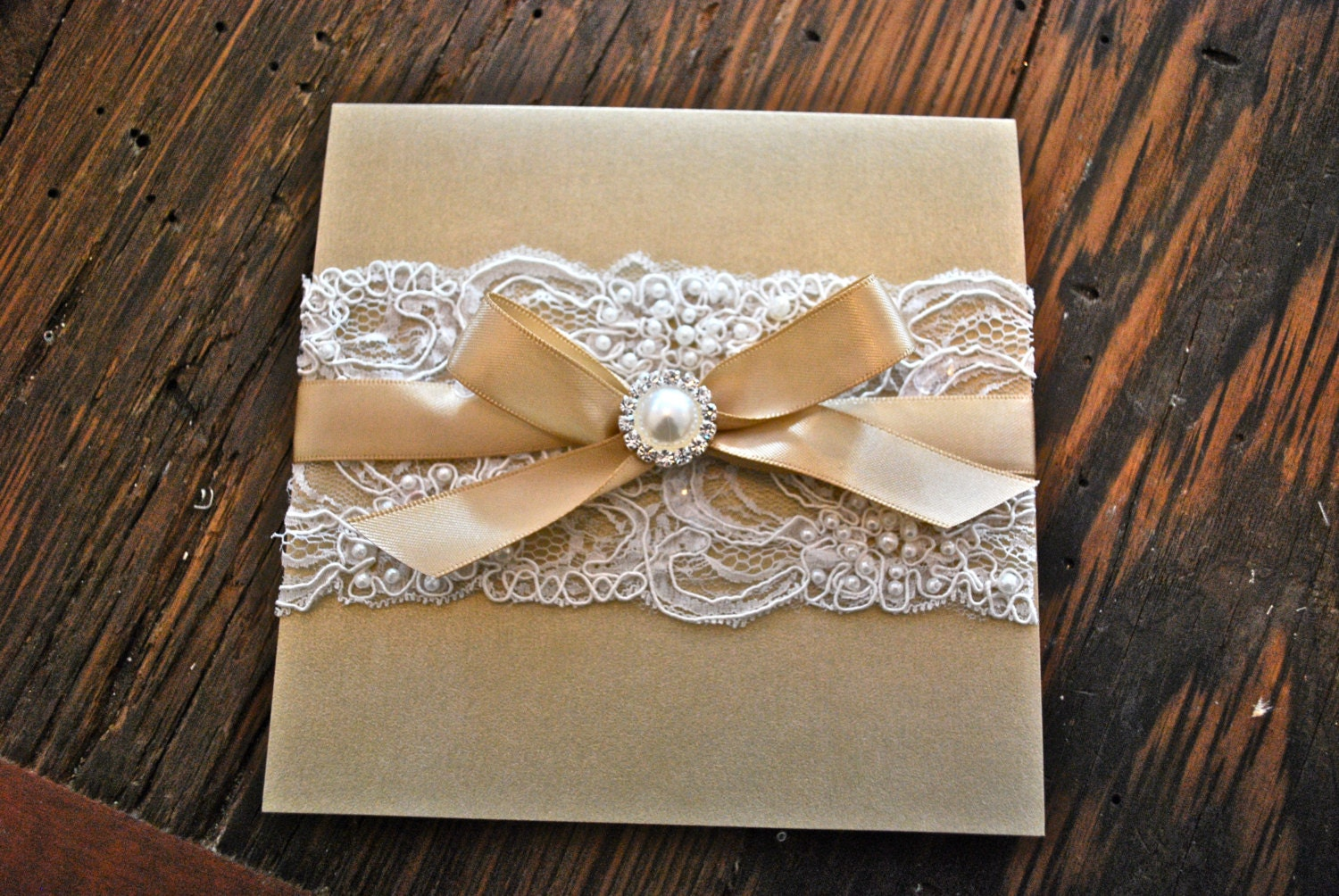 Wedding Invitation Lace: Champagne & Ivory Lace Wedding Invitation