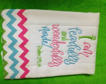 Baby Burp Cloth Monogram Scripture and Chevron