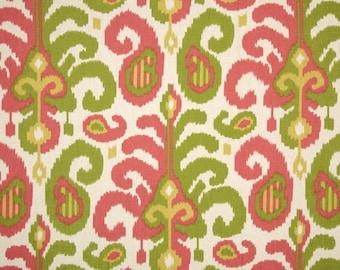 Fabric by the Yard Designer Fabric Home Decor Fabric Pink & Green Ikat Linen Suburban Rasul Pink and Green