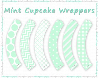 Mint Cupcake Wrappers (Instant Download)