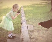 Portrait of a girl taking photo of hen with vintage Brownie camera, Farm Life, Emerald- Pale Green, Wall Decor, Nursery - KarieJorgensen