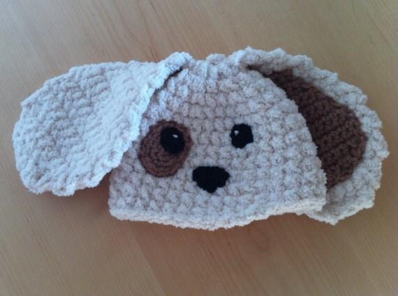 Crochet Dog Earflap Hat Pattern : Crochet Handmade Baby Puppy Dog Earflap Hat Newborn Beanie