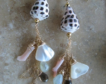 Hebrew cone shell with gems earrings