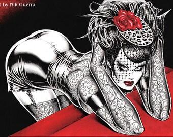 Original Nik Guerra art illustration / Magenta- Some like it dark / Mix Media / super sexy cartoon pin up black white red erotic diva comics