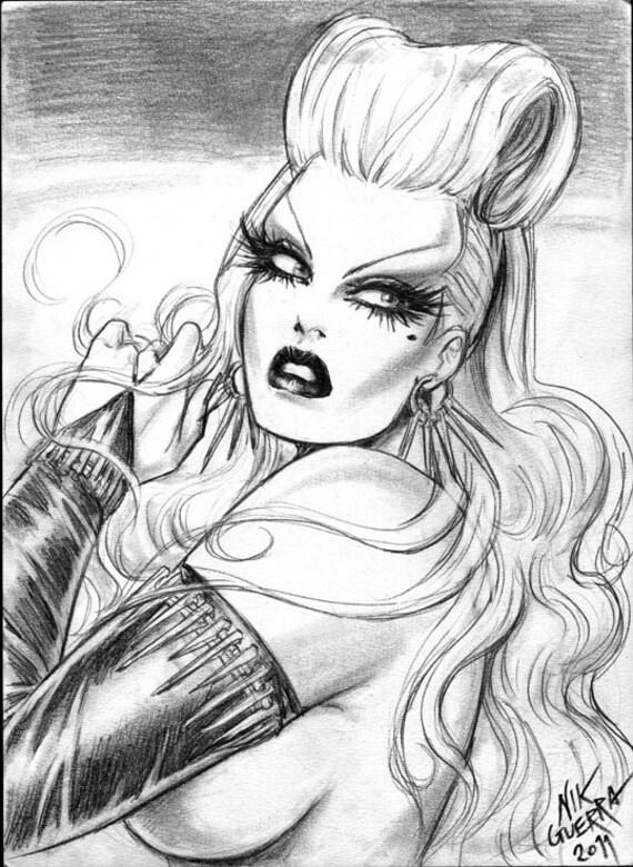Original Nik Guerra art illustration /  Gelidia / graphite rarity /  super sexy cartoon pinup black white winsome blonde  comics