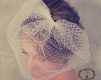 LOUISE - birdcage veil double layer, blusher veil, tulle & russian netting veil, bridal double birdcage veil, bridal veil, bird cage veil