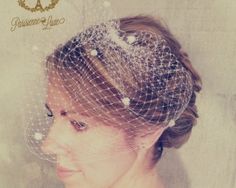 "Birdcage Veil, Russian Netting with Dots, Blusher Veil, Bridal Birdcage Veil, Wedding Head Piece, Ivory or White ""Zooey with Dots"""