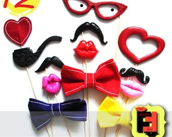 Set from 12 Photo booth Props - 3 plastic lips, 3 plastic mustaches, 3 felt bows, 1 glasses, 1 pipe, 1 heart