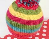 DELANEY: Handknit baby hat, 3 month size, stripes, rainbow, pom-pom