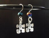 Autism Awareness earrings with metal charms