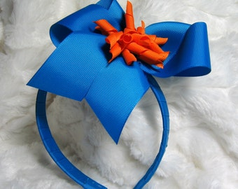 Headband - Rich Blue With Orange Korker Hair Bow Headband and Wide Blue Ribbon Wrapped Band