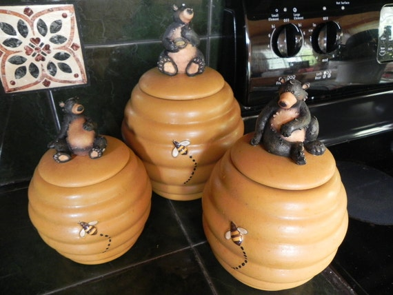 Honour Bear Canister Set (3) Beehive Honeycomb