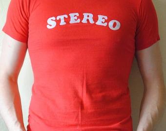 Vintage 1980s Stereo Felt Letters T-shirt size M
