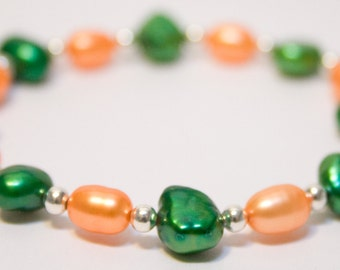 Freshwater pearl bracelet in orange and green, University of Miami Hurricanes, Florida A&M Rattlers