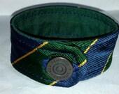 Handmade Silk Cuff Bracelet Green, Navy, and Gold XL