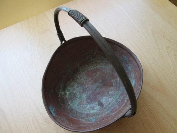 Handmade Copper Basket : Vintage copper basket bowl hand hammered home accent decor