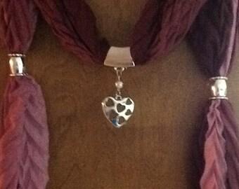 Maroon dark and light jewelry sliders scarf beaded jewelry heart on heart beaded scarf