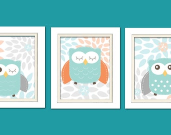 Nursery Owl Prints, Grey and Orange Nursery, Set of 3, 8X10