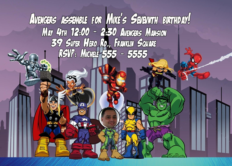 CUSTOM PHOTO Invitations Avengers Super Hero Squad Birthday