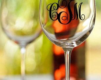 Personalized monogram wine glass