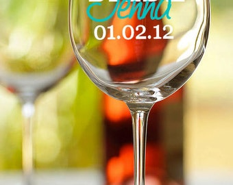 Bridal party, Bride, Bridesmaid, etc. personalized wine glass with names and wedding date - set of 6