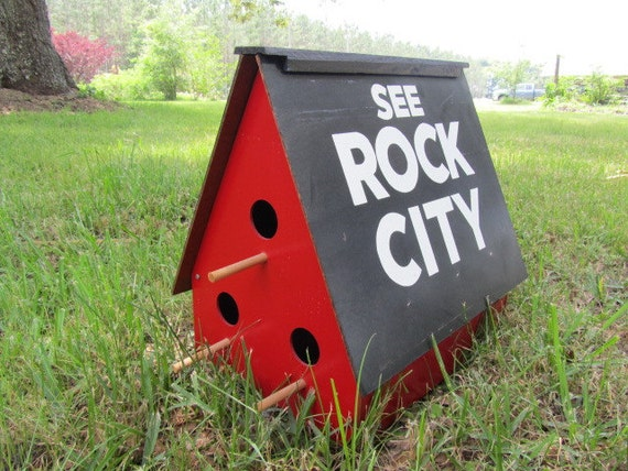 See Rock City See Rock City Birdhouse Birdhouse Red
