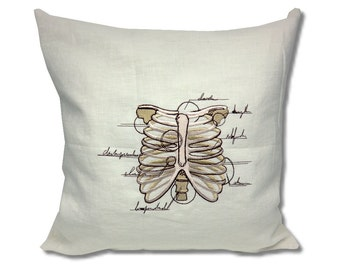 Anatomy Collection Linen Cushion Ribcage