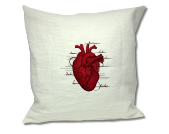 Anatomy Collection Linen Cushion Heart